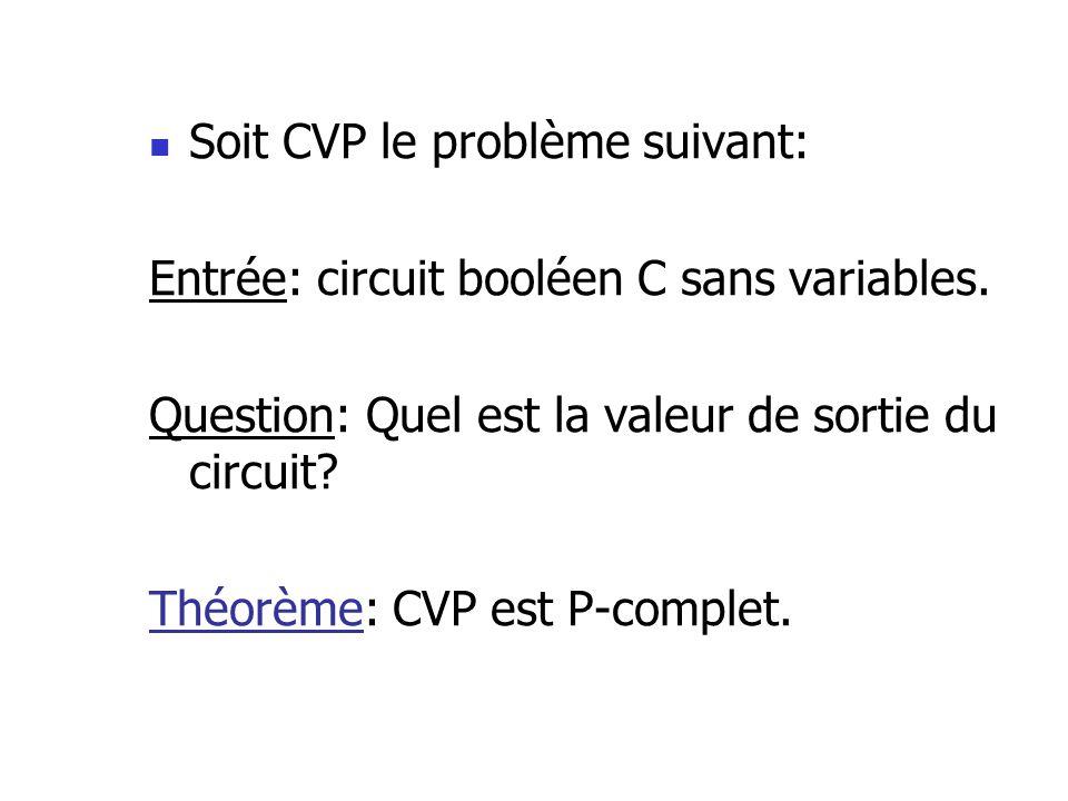 Soit CVP le problème suivant: Entrée: circuit booléen C sans variables.