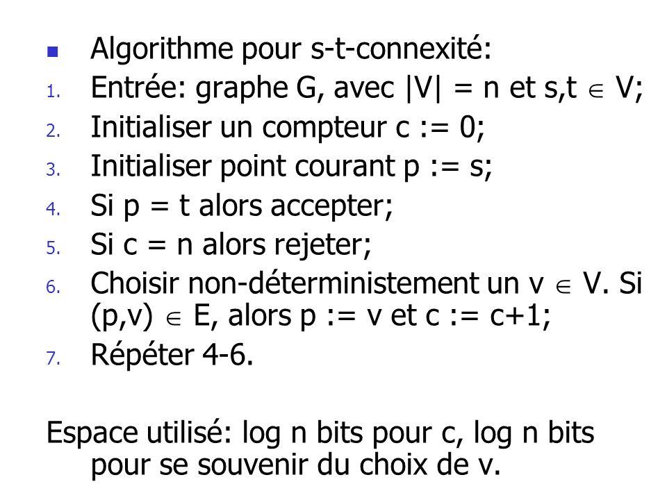 Algorithme pour s-t-connexité: 1.Entrée: graphe G, avec |V| = n et s,t V; 2.