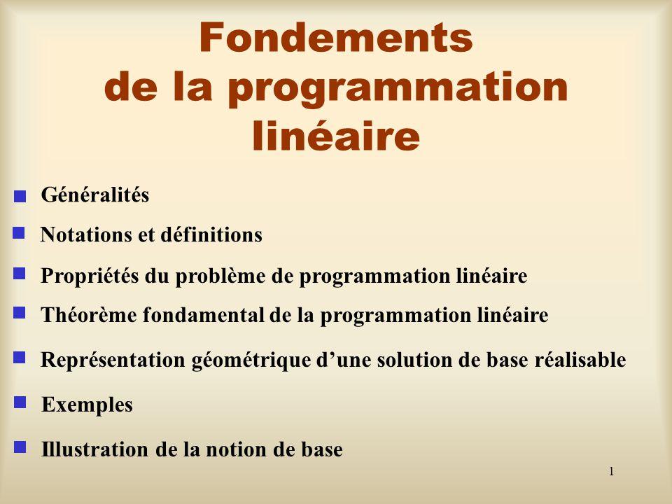 2 Généralités sur la programmation linéaire La programmation linéaire traite de manière générale d un problème d allocation de ressources limitées parmi des activités concurrentes et ce d une façon optimale.