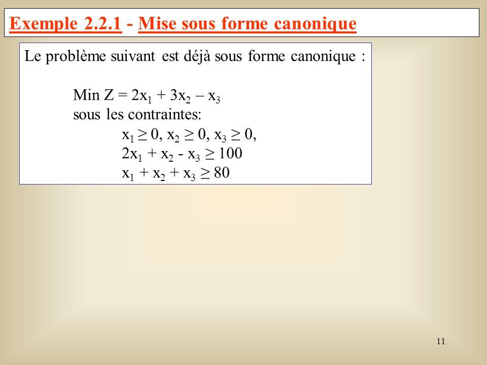 12 Exemple 2.2.2 - Mise sous forme canonique Soit le problème de programmation linéaire suivant : Max C = 6x 1 - 3x 2 + x 3 Min -C = -6x 1 + 3x 2 - x 3 sous les contraintes: x 1 0, x 2 0, 4x 1 + 2x 2 + x 3 65 x 1 + x 2 - x 3 5 x 1 + x 2 = 10 Les variables doivent toutes être positives ou nulles : x 2 0 et x 3 libre nous devons poser : x 1 = y 1, x 2 = -y 2, x 3 = y 3 - y 4, où les variables y i, i = 1,2,3,4 sont toutes positives ou nulles.