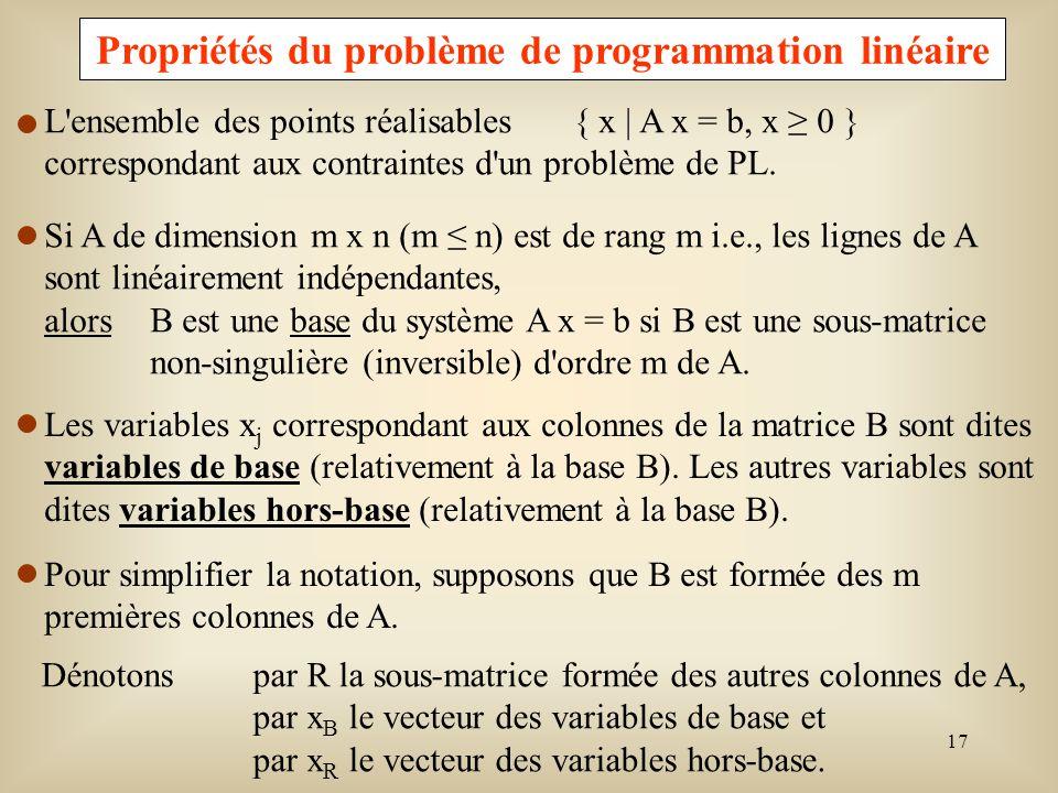 18 Ax = b peut alors sécrire par : A x= (B R)x B = b x R = B x B + R x R = b Puisque B est non singulière, alors B -1 existe et I x B + B -1 R x R = B –1 b.