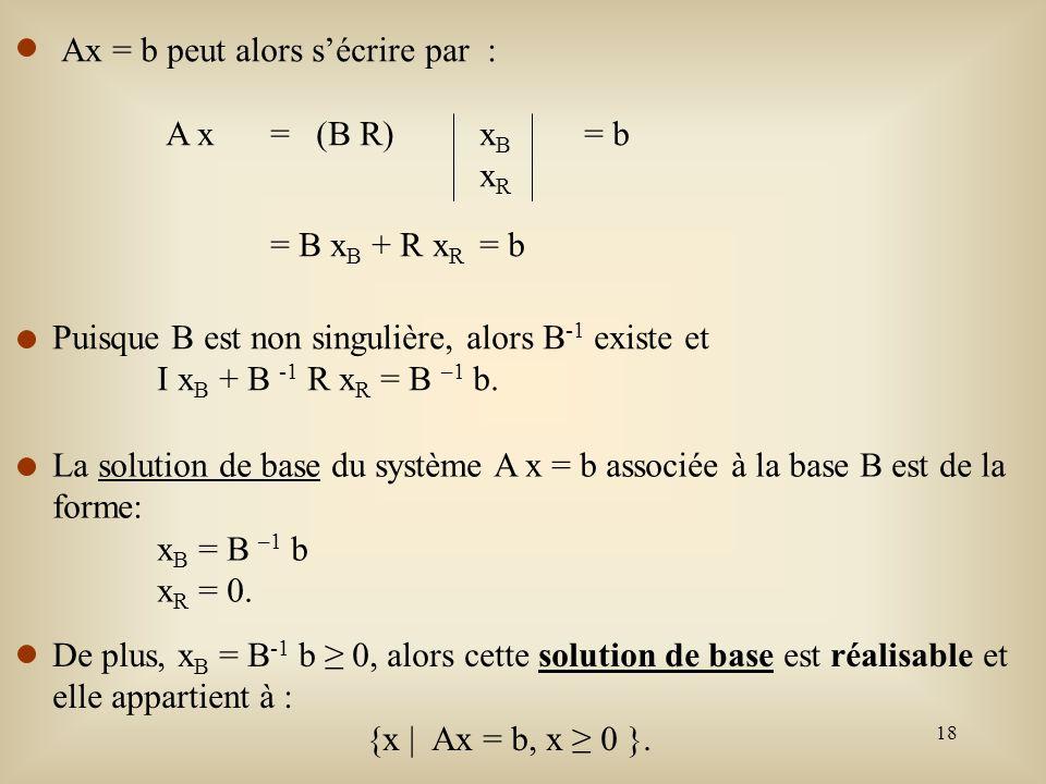 19 Lorsque l une des variables de x B vaut 0, on dit que l on a une solution de base dégénérée.
