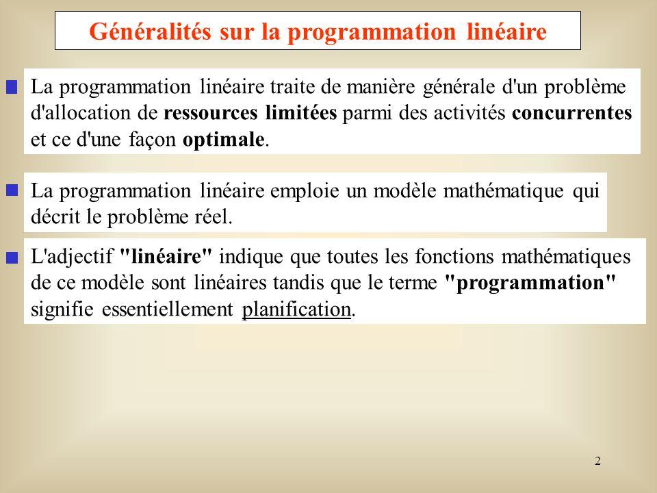 3 Notations et définitions Le problème général de programmation linéaire est la recherche de l optimum (minimum ou maximum) d une fonction linéaire de n variables x j (j=1,2,...,n) liées par des équations ou inéquations linéaires appelées contraintes.