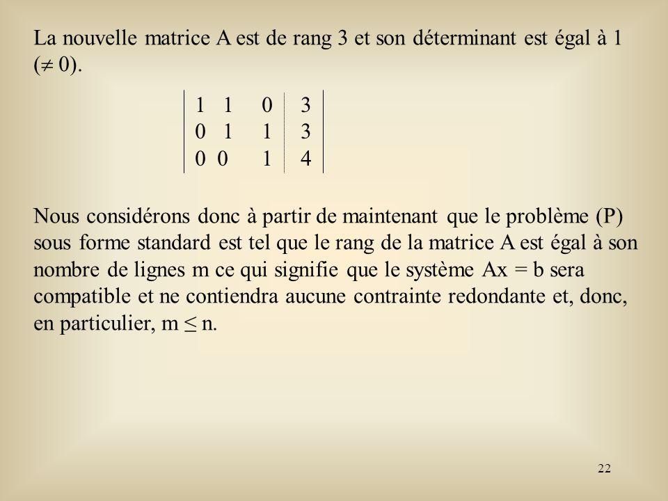 23 Théorème fondamental de la programmation linéaire Considérons maintenant le problème de programmation linéaire sous sa forme standard matricielle Min c t x sujet àAx = b(P) x 0.