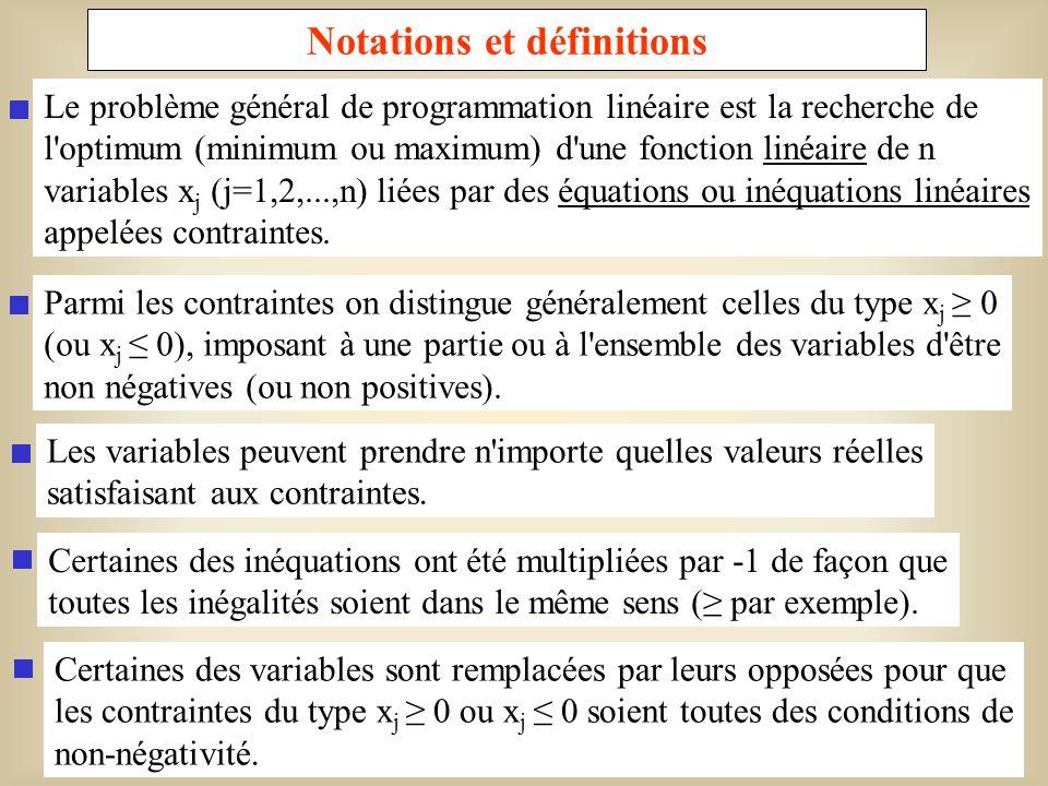 4 Formulation algébrique n Minimiser (ou maximiser) z= c j x j j=1 n Sujet à: a ij x jb j,i = 1, 2,..., p j=1 n a ij x j =b j,i = p + 1, p + 2,..., m j=1 x j0,j = 1, 2,..., q x j quelconque, j = q + 1, q + 2,..., n, où les constantes c j, a ij et b j sont des nombres réels.