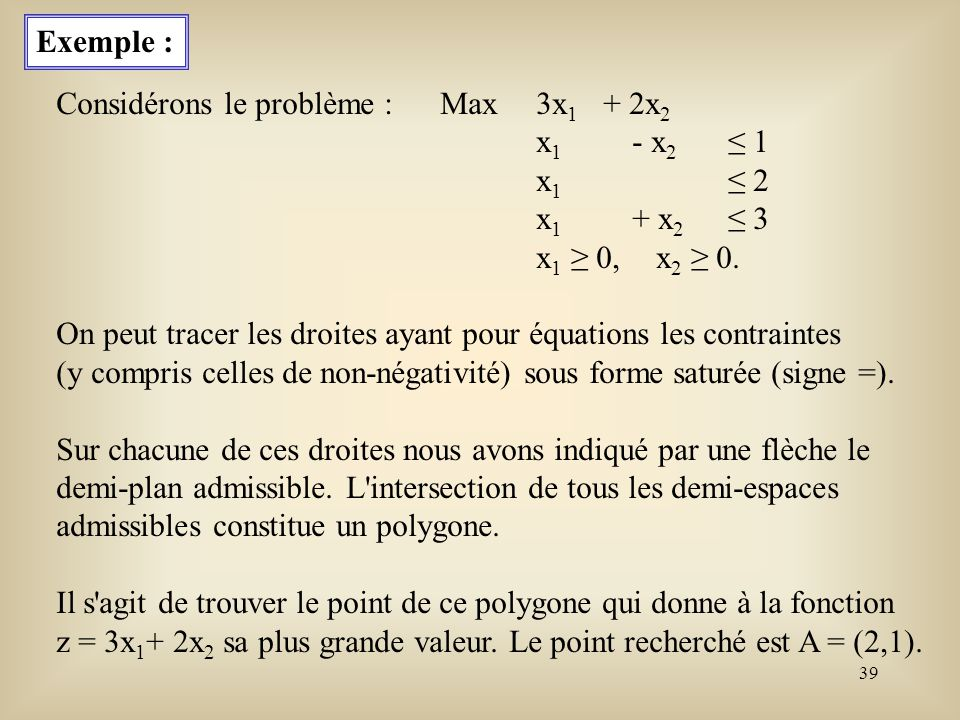 40 Les coordonnées de ce point A sont solution du système saturé : x 1 - x 2 = 1 x 1 = 2 x 1 + x 2 = 3.