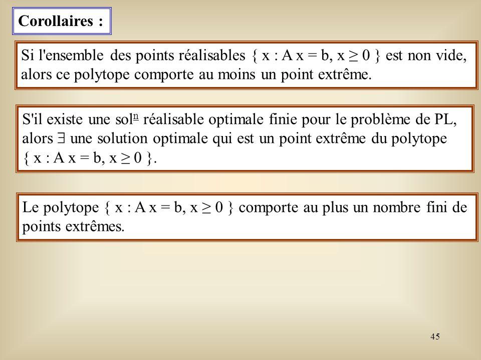 46 Illustration de la notion de base Soit le problème de flot à coût minimum dans un réseau orienté G = (V,E).
