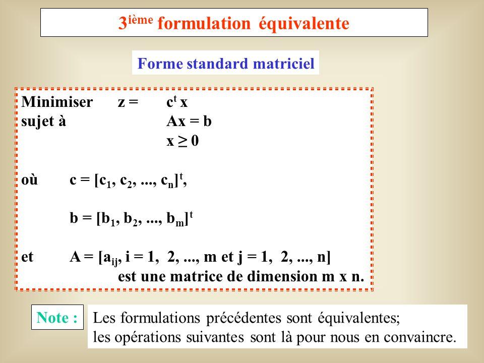 8 Opérations à effectuer pour passer dune forme à lautre Opération A En utilisant la relation minimum f(x) = -maximum [-f(x)] dans laquelle f(x) représente la fonctionnelle linéaire à optimiser, on peut toujours se ramener à un problème de minimisation (ou de maximisation).