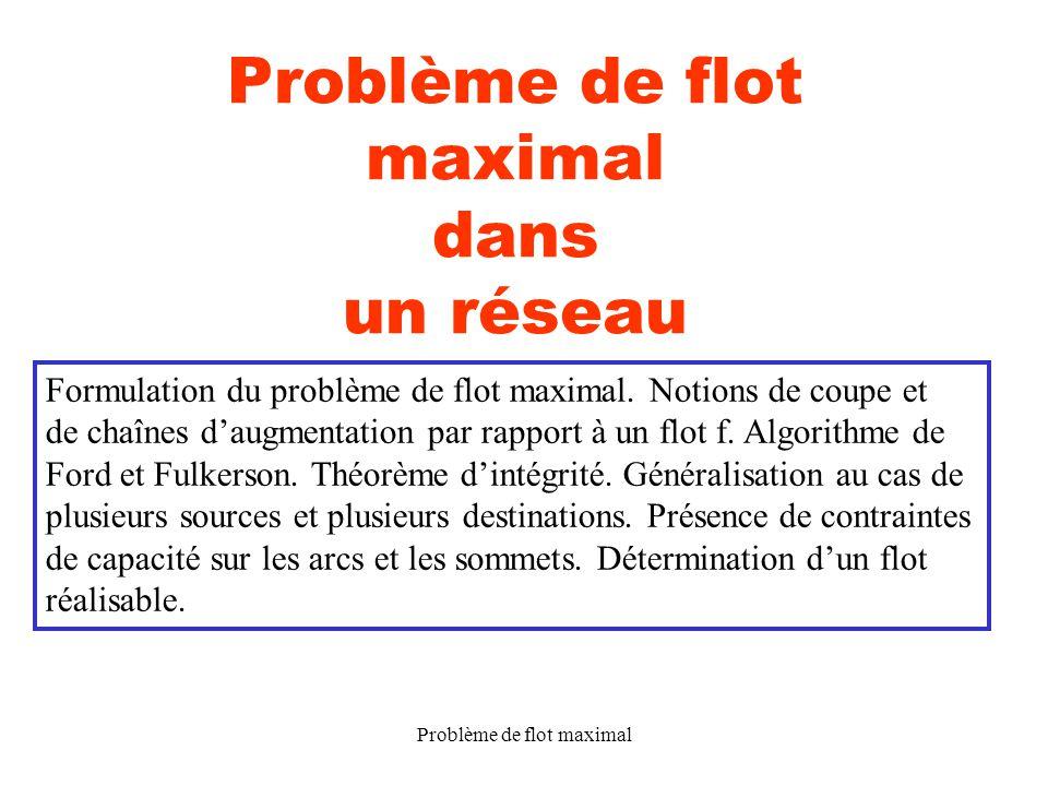 Problème de flot maximal12 Exemple : sd 1 2 2,3 0,1 1,1 2,3 3 3 (f(x, y), K(x, y)) L(x, y) = 0 (x, y) A.