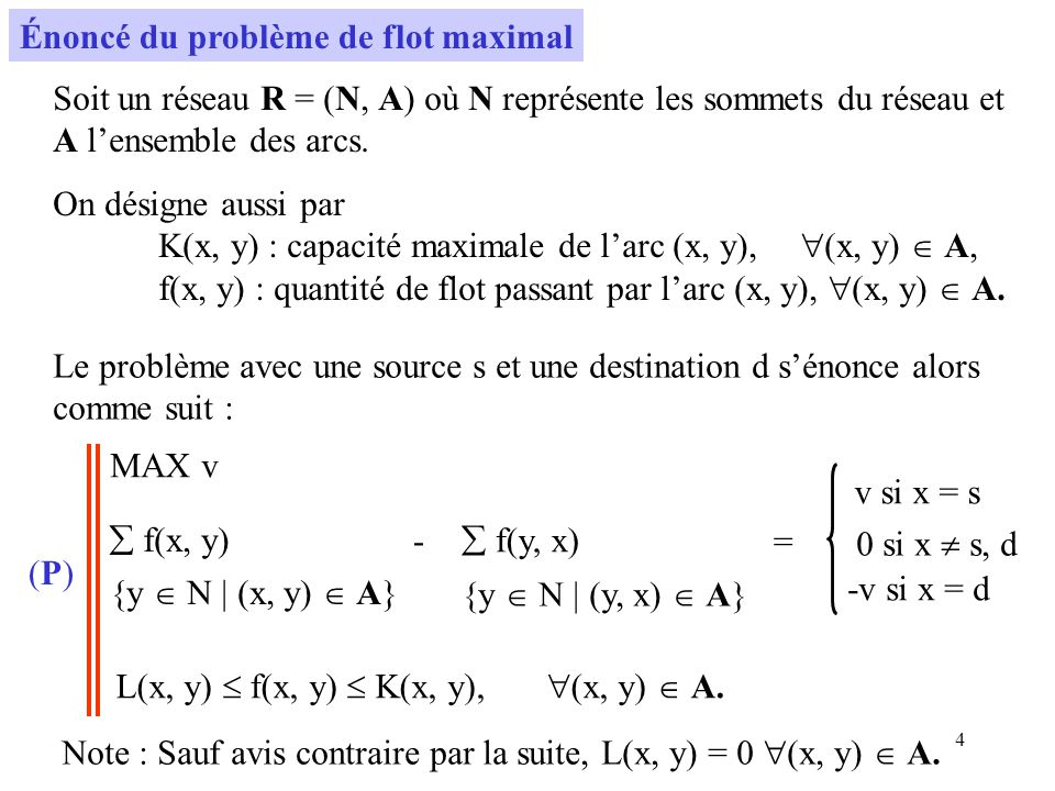 5 Problème de programmation linéaire En ajoutant un arc fictif (d, s) de capacité infinie, le problème devient : MAX f(d, s) f(x, y) {y N | (x, y) A } - f(y, x) {y N | (y, x) A } = 0 x N.