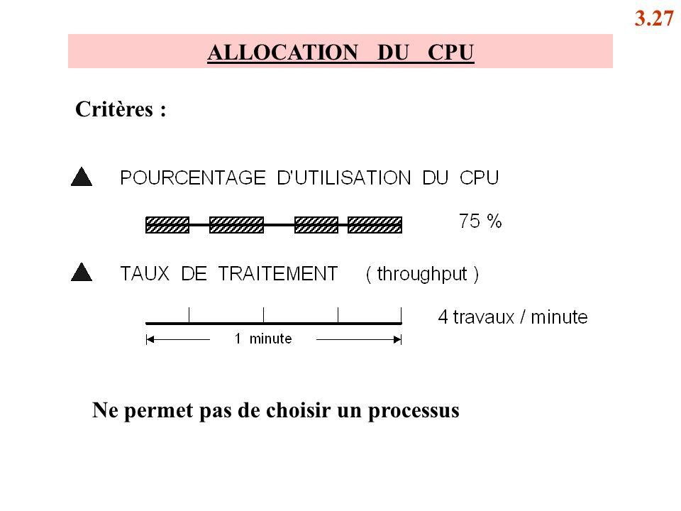 ALLOCATION DU CPU Critères : Ne permet pas de choisir un processus 3.27