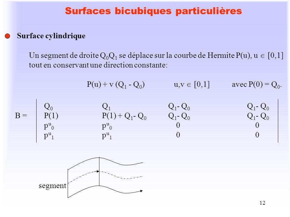 12 Surfaces bicubiques particulières Surface cylindrique Un segment de droite Q 0 Q 1 se déplace sur la courbe de Hermite P(u), u [0,1] tout en conser