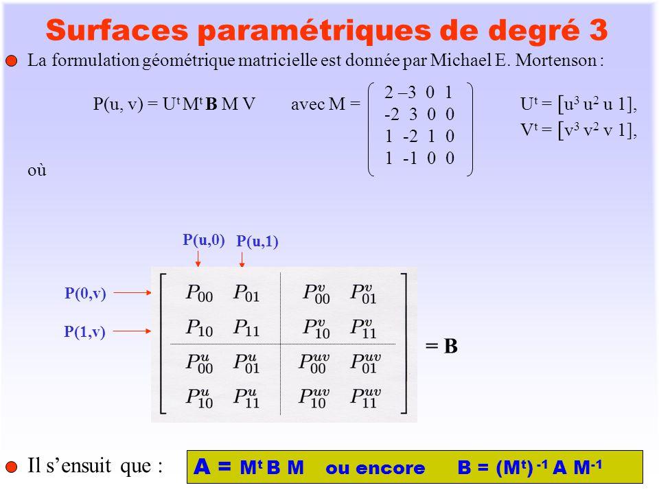 6 Calcul de P u (u, v) et P v (u, v) P u (u, v) = U t N t B M Vavec N = 0 6 -6 0 0 -6 6 0 0 3 -4 1 0 3 -2 0 U t = [ u 3 u 2 u 1], V t = [ v 3 v 2 v 1], P v (u, v) = U t M t B N V P uv (u, v) = U t N t B N V Il sensuit que : P u (0, v) P u 0v = [P u 00 P u 01 P uv 00 P uv 01 ] M V P u (1, v) P u 1v = [P u 10 P u 11 P uv 10 P uv 11 ] M V P v (u, 0) P v u0 = [P v 00 P v 10 P uv 00 P uv 10 ] M U P v (u, 1) P v u1 = [P v 01 P v 11 P uv 01 P uv 11 ] M U.