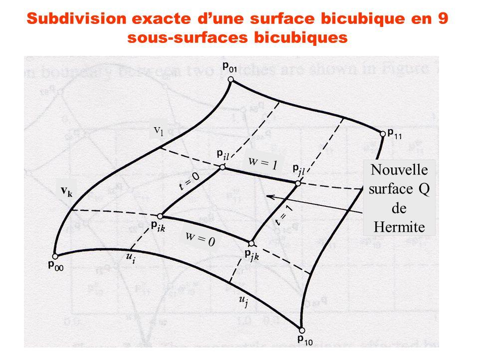 9 Subdivision exacte dune surface bicubique en 9 sous-surfaces bicubiques Q 00 = P ik Q 10 = P jk Q 01 = P il Q 11 = P jl Q t 00 = (u j - u i ) P u ik Q t 10 = (u j - u i ) P u jk Q t 01 = (u j - u i ) P u il Q t 11 = (u j - u i ) P u jl Q w 00 = (v l - v k ) P v ik Q w 10 = (v l - v k ) P v jk Q w 01 = (v l - v k ) P v il Q w 11 = (v l - v k ) P v jl Q tw 00 = (u j - u i ) (v l - v k ) P uv ik Q tw 10 = (u j - u i ) (v l - v k ) P uv jk Q tw 01 = (u j - u i ) (v l - v k ) P uv il Q tw 11 = (u j - u i ) (v l - v k ) P uv jl Passage de [u i, u j ] x [v k, v l ] à [0, 1] x [0, 1]Reparamétrisation