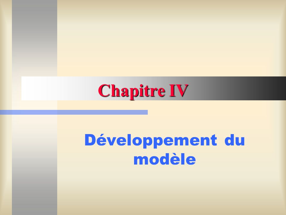 Chapitre IV - Développement du modèle32 SIMULATION DUN QUAI DE CHARGEMENT void main() { Lire_Donnees(); Loi_de_probabilite * pLoi_d_arrivee_des_bateaux = new Loi_de_probabilite(Exponentielle); pLoi_d_arrivee_des_bateaux -> Fixer_un_parametre_de_la_loi (temps_moyen_entre_2arrivees,1); Loi_de_probabilite * pLoi_de_depart_du_systeme = new Loi_de_probabilite(Exacte); Loi_de_probabilite * pDuree_du_service = new Loi_de_probabilite(Exponentielle); pDuree_du_service -> Fixer_un_parametre_de_la_loi (duree_moyenne_chargement,1);