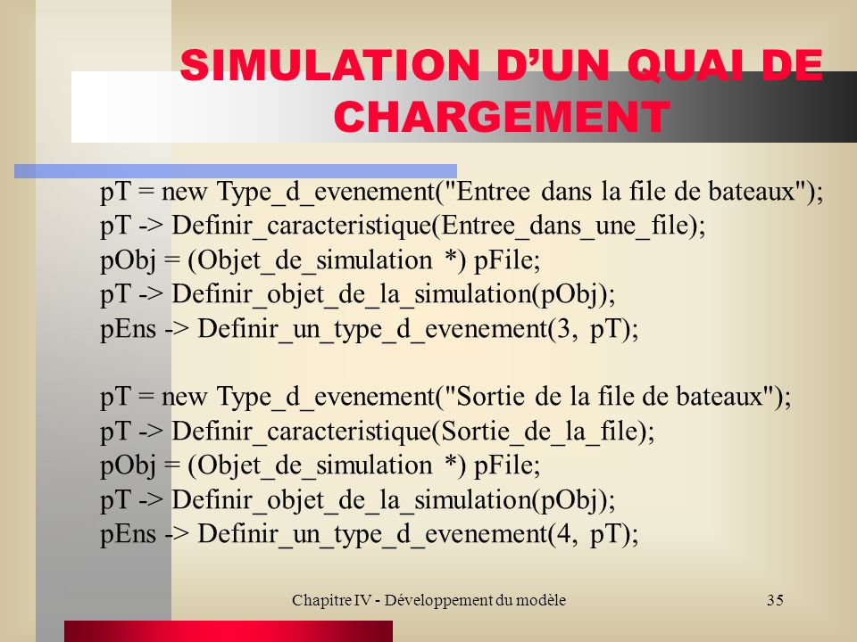 Chapitre IV - Développement du modèle35 SIMULATION DUN QUAI DE CHARGEMENT pT = new Type_d_evenement( Entree dans la file de bateaux ); pT -> Definir_caracteristique(Entree_dans_une_file); pObj = (Objet_de_simulation *) pFile; pT -> Definir_objet_de_la_simulation(pObj); pEns -> Definir_un_type_d_evenement(3, pT); pT = new Type_d_evenement( Sortie de la file de bateaux ); pT -> Definir_caracteristique(Sortie_de_la_file); pObj = (Objet_de_simulation *) pFile; pT -> Definir_objet_de_la_simulation(pObj); pEns -> Definir_un_type_d_evenement(4, pT);