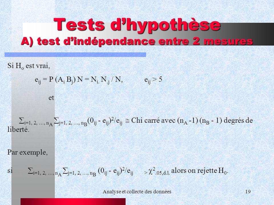 Analyse et collecte des données19 Tests dhypothèse A) test dindépendance entre 2 mesures Si H o est vrai, e ij = P (A i B j ) N = N i. N.j / N, e ij >