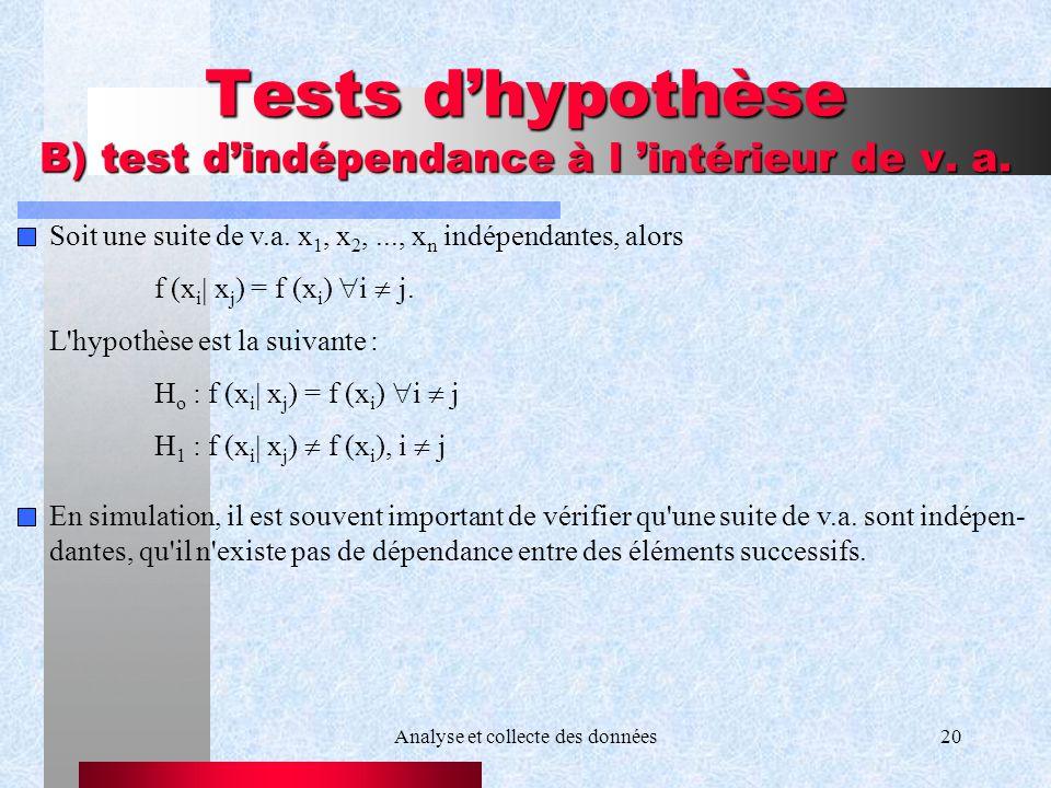 Analyse et collecte des données20 Tests dhypothèse B) test dindépendance à l intérieur de v. a. Soit une suite de v.a. x 1, x 2,..., x n indépendantes