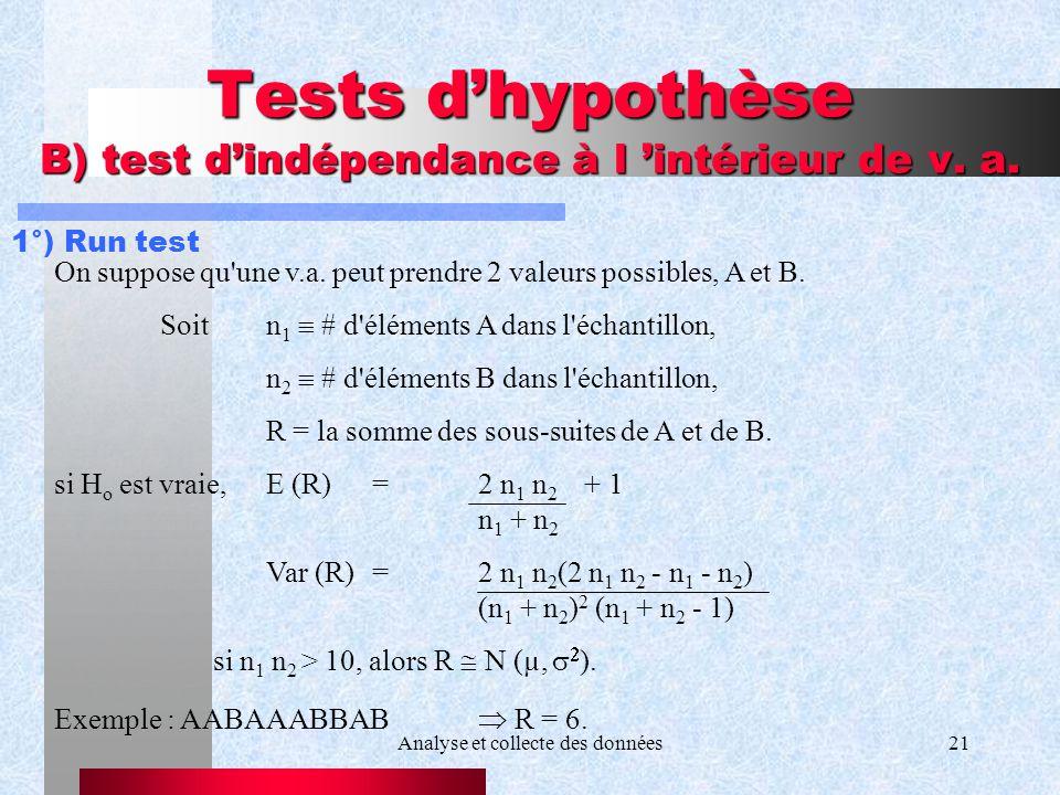 Analyse et collecte des données21 Tests dhypothèse B) test dindépendance à l intérieur de v. a. 1°) Run test On suppose qu'une v.a. peut prendre 2 val