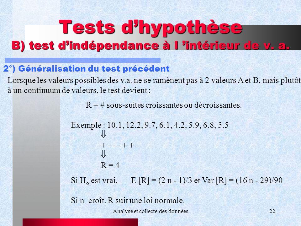 Analyse et collecte des données22 Tests dhypothèse B) test dindépendance à l intérieur de v. a. 2°) Généralisation du test précédent R = # sous-suites