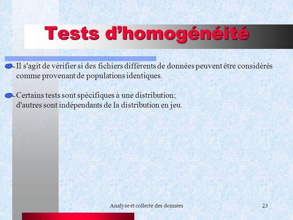 Analyse et collecte des données23 Tests dhomogénéité Il s'agit de vérifier si des fichiers différents de données peuvent être considérés comme provena