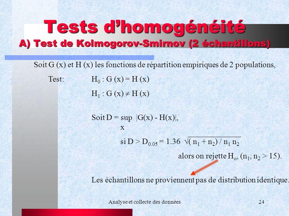 Analyse et collecte des données24 Tests dhomogénéité A) Test de Kolmogorov-Smirnov (2 échantillons) Soit G (x) et H (x) les fonctions de répartition e