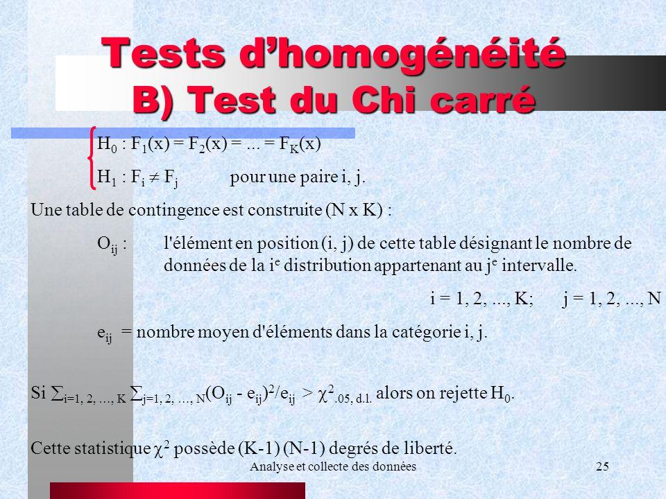 Analyse et collecte des données25 Tests dhomogénéité B) Test du Chi carré H 0 : F 1 (x) = F 2 (x) =... = F K (x) H 1 : F i F j pour une paire i, j. Un