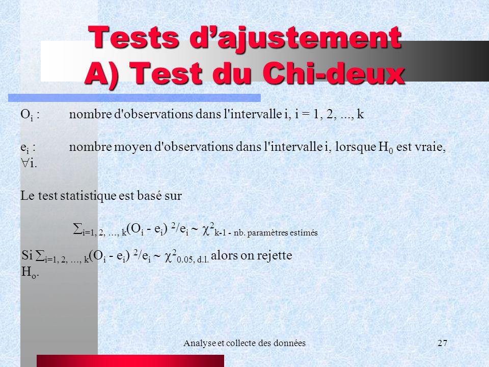Analyse et collecte des données27 Tests dajustement A) Test du Chi-deux Si i=1, 2, …, k (O i - e i ) 2 /e i 2 0.05, d.l. alors on rejette H o. O i :no