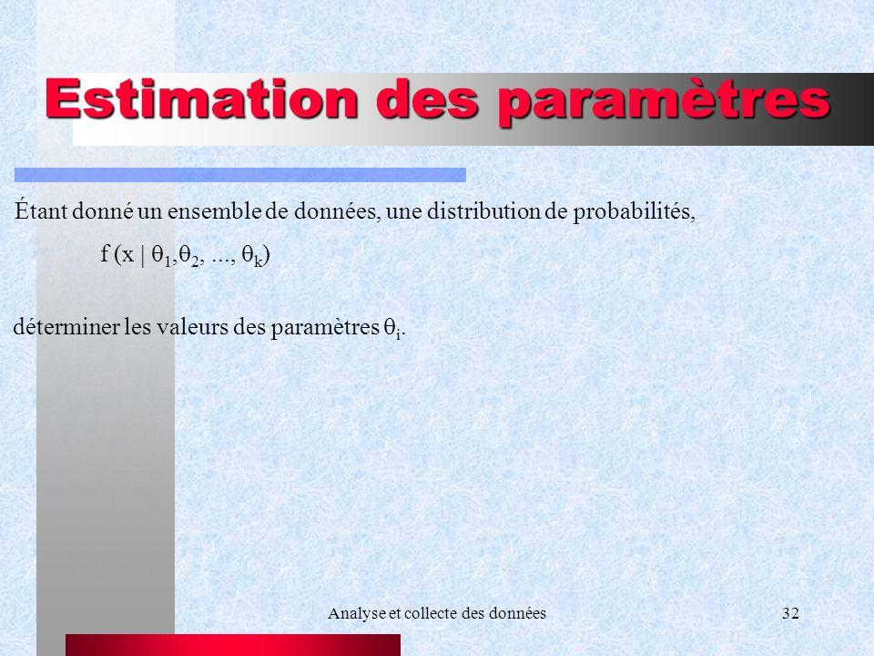 Analyse et collecte des données32 Estimation des paramètres f (x 1, 2,..., k ) déterminer les valeurs des paramètres i. Étant donné un ensemble de don