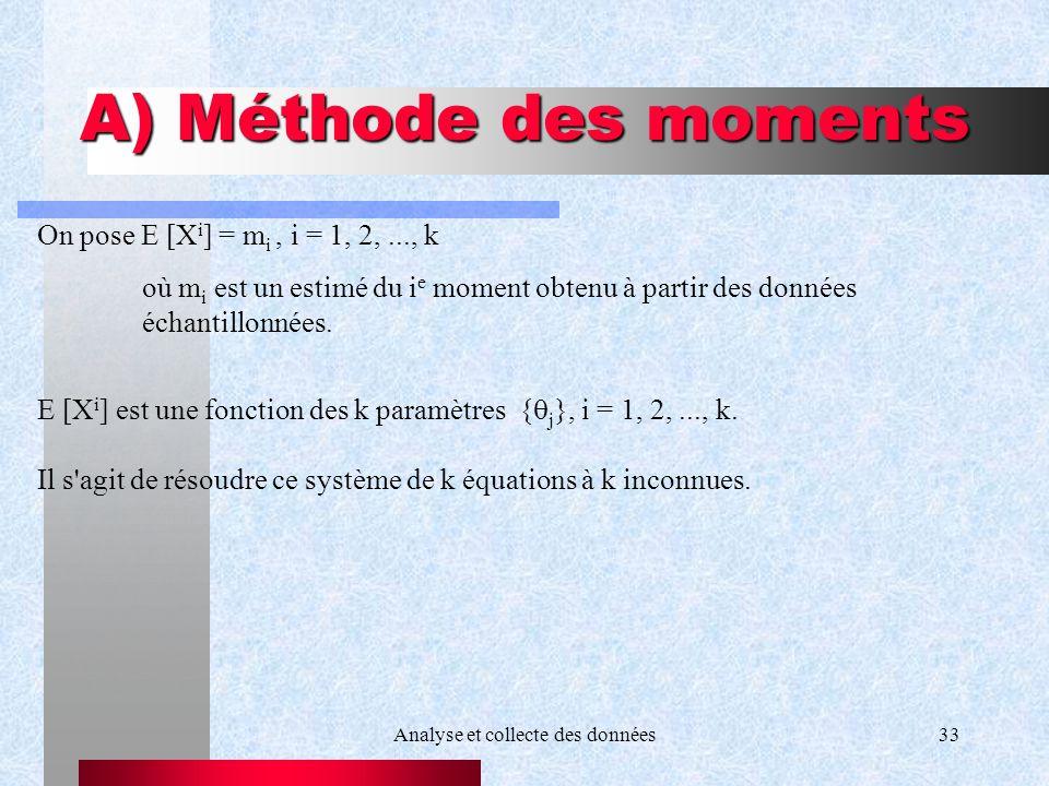 Analyse et collecte des données33 A) Méthode des moments On pose E [X i ] = m i, i = 1, 2,..., k où m i est un estimé du i e moment obtenu à partir de