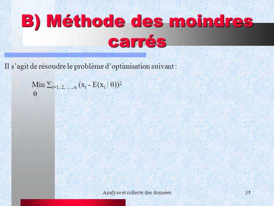 Analyse et collecte des données35 B) Méthode des moindres carrés Il sagit de résoudre le problème doptimisation suivant : Min i=1, 2, …, n (x i - E(x