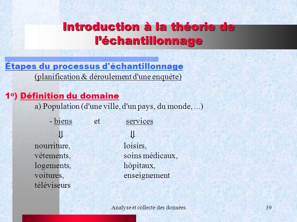 Analyse et collecte des données39 Introduction à la théorie de léchantillonnage Étapes du processus d'échantillonnage (planification & déroulement d'u