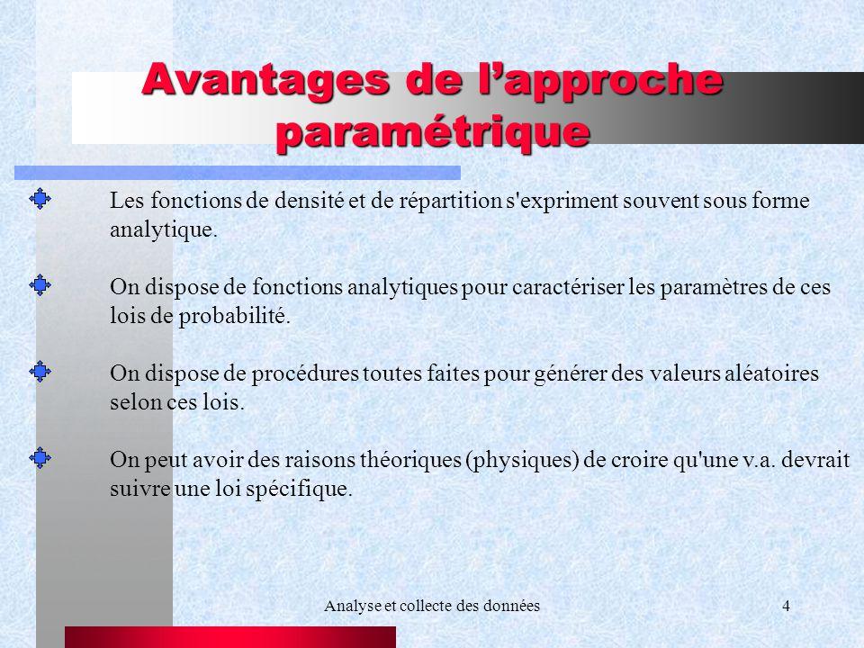 Analyse et collecte des données4 Avantages de lapproche paramétrique Les fonctions de densité et de répartition s'expriment souvent sous forme analyti