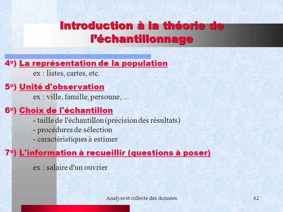 Analyse et collecte des données42 Introduction à la théorie de léchantillonnage 4 o ) La représentation de la population ex : listes, cartes, etc. 5 o
