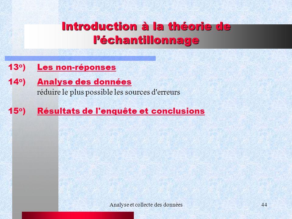 Analyse et collecte des données44 Introduction à la théorie de léchantillonnage 13 o )Les non-réponses 14 o )Analyse des données réduire le plus possi