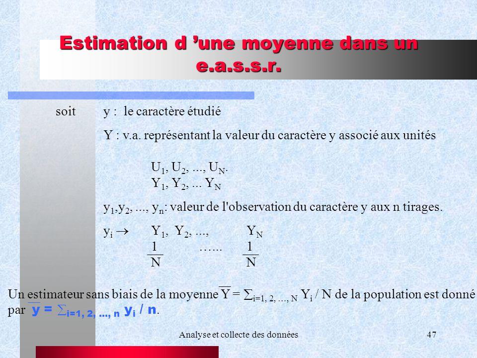 Analyse et collecte des données47 Estimation d une moyenne dans un e.a.s.s.r. soit y : le caractère étudié Y : v.a. représentant la valeur du caractèr