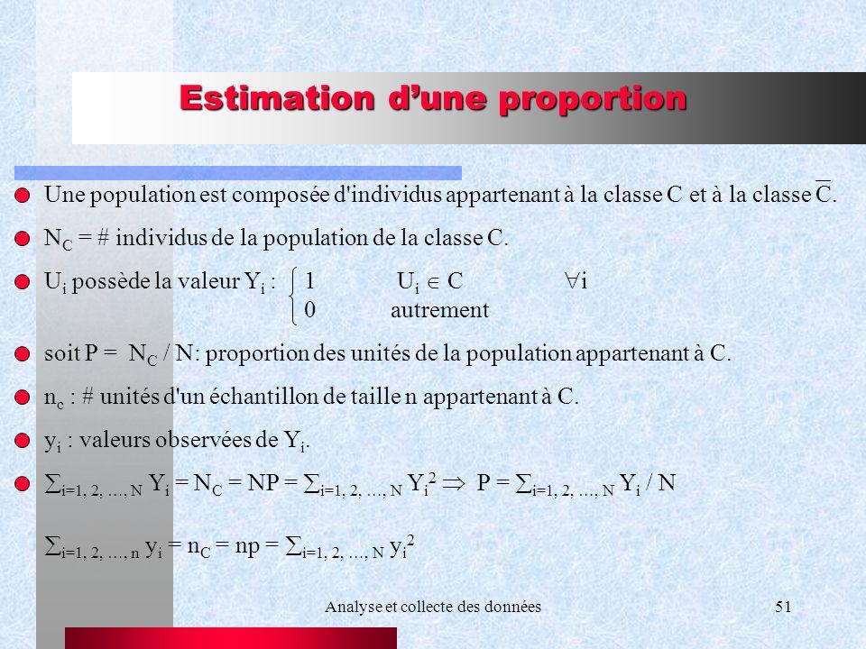 Analyse et collecte des données51 Estimation dune proportion Une population est composée d'individus appartenant à la classe C et à la classe C. N C =