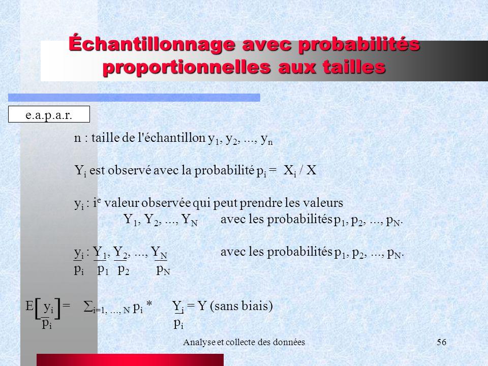 Analyse et collecte des données56 Échantillonnage avec probabilités proportionnelles aux tailles e.a.p.a.r. n : taille de l'échantillon y 1, y 2,...,