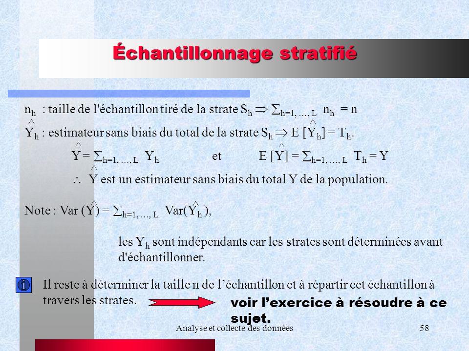 Analyse et collecte des données58 Échantillonnage stratifié n h : taille de l'échantillon tiré de la strate S h h=1, …, L n h = n Y h : estimateur san