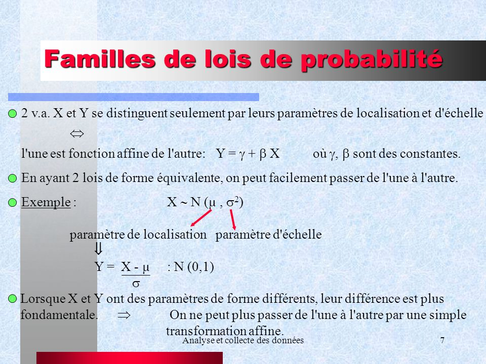 Analyse et collecte des données7 Familles de lois de probabilité 2 v.a. X et Y se distinguent seulement par leurs paramètres de localisation et d'éche