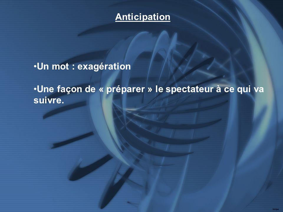 Un mot : exagération Une façon de « préparer » le spectateur à ce qui va suivre. Anticipation