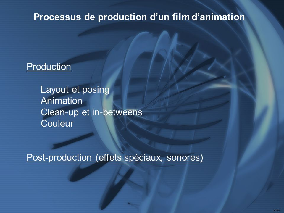 Production Layout et posing Animation Clean-up et in-betweens Couleur Post-production (effets spéciaux, sonores) Processus de production dun film danimation