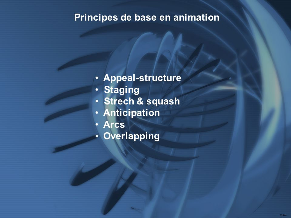 Appeal-structure Staging Strech & squash Anticipation Arcs Overlapping Principes de base en animation