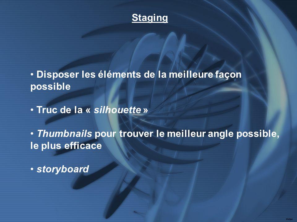Disposer les éléments de la meilleure façon possible Truc de la « silhouette » Thumbnails pour trouver le meilleur angle possible, le plus efficace storyboard Staging