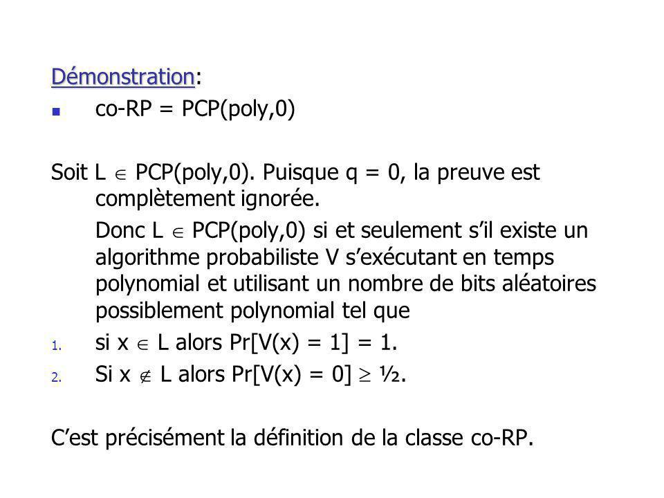 Démonstration Démonstration: co-RP = PCP(poly,0) Soit L PCP(poly,0).