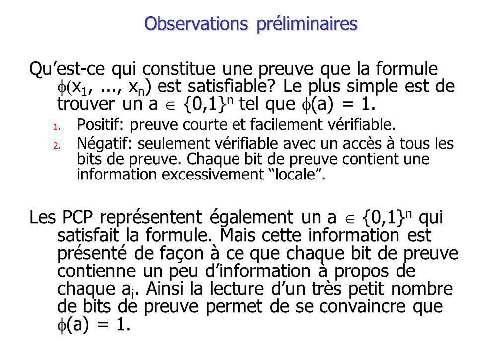 Observations préliminaires Quest-ce qui constitue une preuve que la formule x 1,..., x n ) est satisfiable.