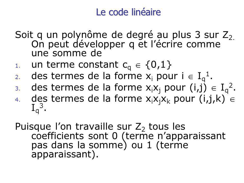 Le code linéaire Soit q un polynôme de degré au plus 3 sur Z 2.