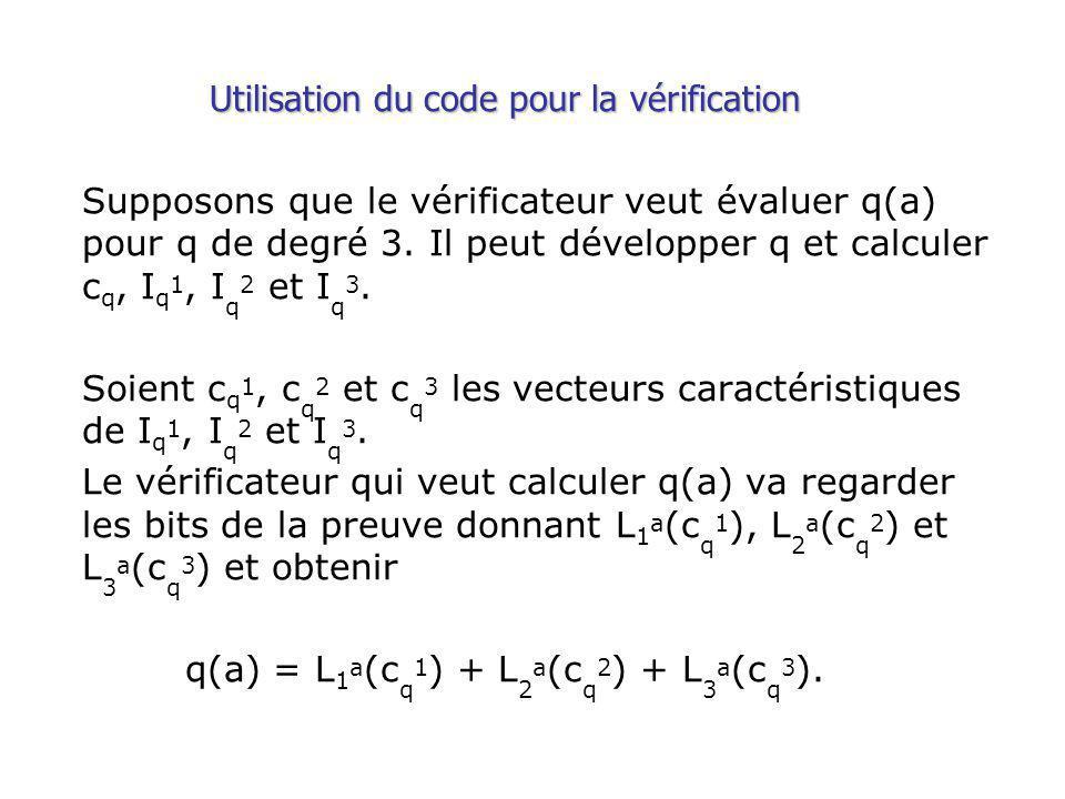 Utilisation du code pour la vérification Supposons que le vérificateur veut évaluer q(a) pour q de degré 3.