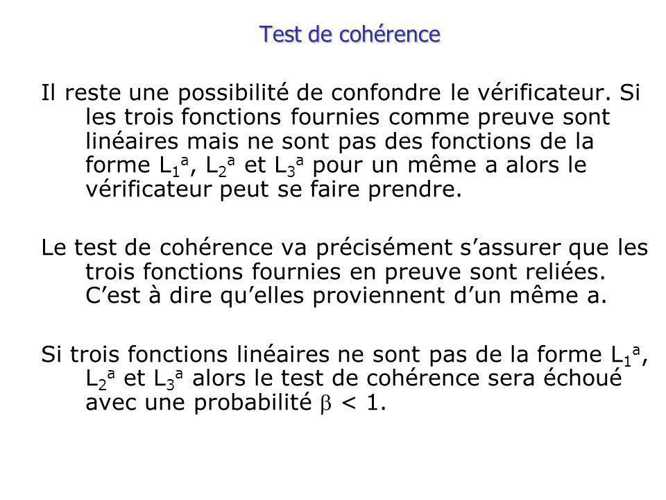 Test de cohérence Il reste une possibilité de confondre le vérificateur.