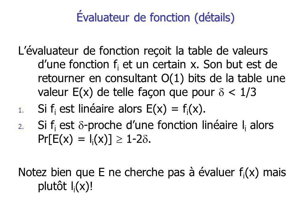Évaluateur de fonction (détails) Lévaluateur de fonction reçoit la table de valeurs dune fonction f i et un certain x.